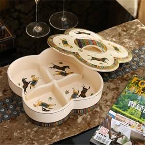 磁器キャンディーボックス/ナッツボックス蓋アイボリー磁器神馬デザインエンボスアウトラインゴールドアンティーク品質の装飾