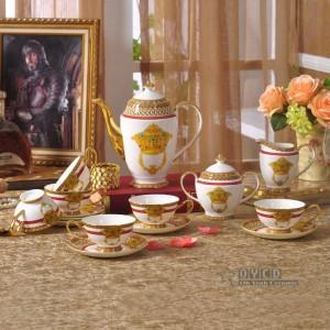 磁器食器セット骨ファッション家庭用家具アウトラインゴールド58ピース食器セットディナーセットコーヒーセットギフト