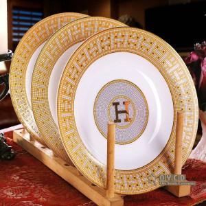 """金58pcs食器セット磁器食器セット骨 """"H""""マークモザイクデザインの概要ディナーセット家庭暖かい贈り物"""