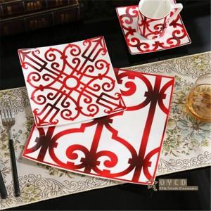 磁器ヨーロッパスタイルセラミック食器セット骨ファッション赤デザイン5ピース食器セットストライプディナーセットギフト