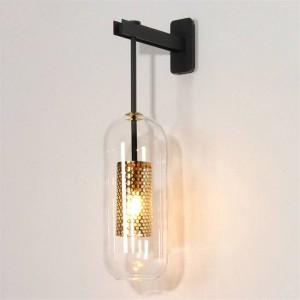 ポストモダンな室内照明ウォールランプゴールド/ブラックメタルガラス創造的な壁取り付け用燭台ウォールライトベッドルームベッドサイド通路通路通路