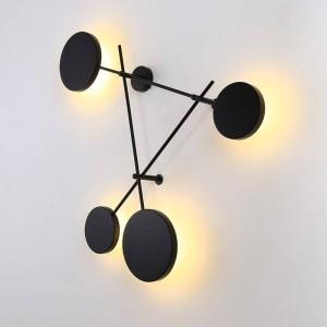 ポストモーデンノルディックウォールランプled屋内クリエイティブラウンドプレート黒壁照明器具簡単な壁取り付け用燭台照明Lamparas de Pared