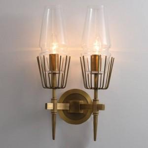 ポストモダン工業用ウォールランプ1/2ヘッドガラスledウォールスコーンライトレストラン階段通路照明器具寝室のベッドサイドランプ