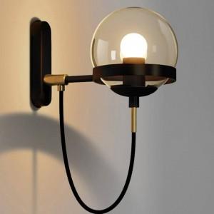 ポストモダンノルディックウォールランプホテルレストランヴィンテージウォールライトアンバーガラス玉ランプシェードレトロ工業用照明器具