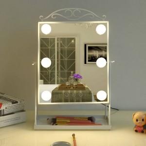 プリンセススタイルled化粧鏡付き電球ホームデスクトップドレッシング美容フィルライトミラーテーブルデコレーションmx12281553