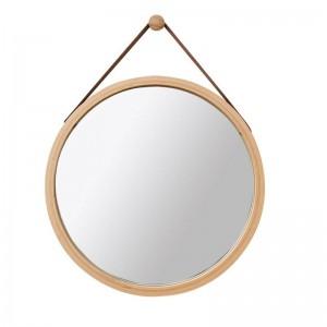 PUレザーラウンドウォールミラー装飾ミラー付きぶら下げストラップ浴室化粧鏡含むフック家の装飾mx3071411