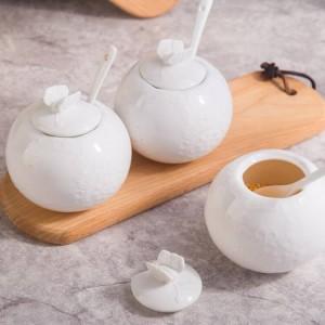 レリーフ竹塩タンク砂糖瓶カバースプーンペッパーセラミック調味料入れキッチン用品セットスパイス&ペッパーシェーカー