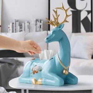 樹脂鹿彫像家の装飾ティッシュボックスホルダーカバーコンテナ動物卓上鹿彫刻装飾用ホームオフィス