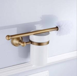 浴室ペンダントホワイトセラミックカップフル銅ヨーロッパアンティークトイレブラシホルダー9044K