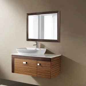 レトロ黒クルミバスルームミラー壁掛けリビングルームの寝室の化粧台ミラーwx 8221537