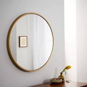 レトロシンプルメタルラウンドバスルームミラーウォールマウントホームベッドルームミラードレッシングテーブルデコレーション化粧鏡mx3011118