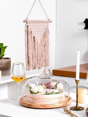 回転ガラス透明カバーフルーツプレート午後のティーケーキカバー木製カバーウェストポイントトレイケーキプレートデザートプレート