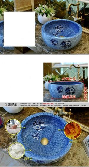 ラウンド浴室セラミックシンク洗面台カウンタートップ洗面台浴室シンク青い磁器容器シンク蝶