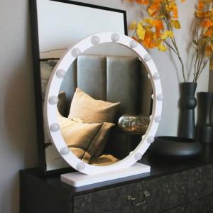 ラウンド大型化粧鏡付きライトledプロフェッショナルデスクトップバニティミラーhdライブフィルライトプリンセススタイルミラーmx12291632