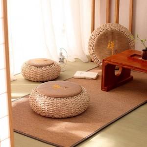 ラウンドプーフオスマンスツール籐シートパッドフロアヨガ瞑想クッションわら素朴な畳現代ニットプーフ家具pouffe