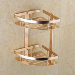 セクター二重層収納ラック棚高級ゴールド壁掛けキッチン浴室タワーシャンプー収納ラックオーガナイザー