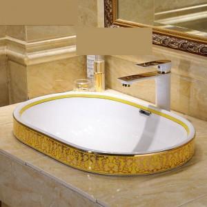 半埋め込みヨーロッパヴィンテージスタイルアート洗面台セラミックカウンタートップ洗面台浴室のシンク浴室洗面台ボウルオーバル