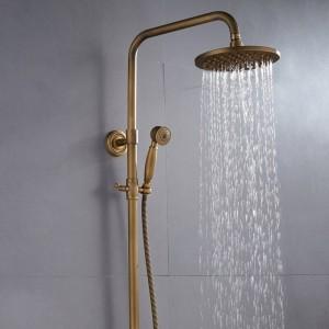 シャワーの蛇口アンティークカラー浴室の蛇口真鍮風呂降雨量スプレーシャワーヘッドヨーロッパ蛇口風呂シャワーセットXT368