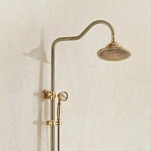 シャワーの蛇口高級銅浴室降雨シャワーの蛇口セットミキサータップハンドスプレー付き壁掛け風呂シャワーヘッドXT396