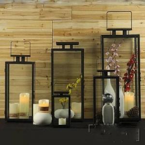 シンプル現代ヨーロッパレトロ錬鉄製のガラスキャンドルホルダー屋外防風風ランプポータブルランプの結婚式の小道具馬ランプ