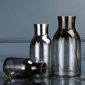 シンプルでモダンな透明ガラス花瓶リビングルームのデスクトップの花クリエイティブホームソフトデコレーション装飾品