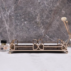 シンプルな長方形トレイ家の装飾デスクトップ茶セット収納トレイ浴室化粧品トレイ