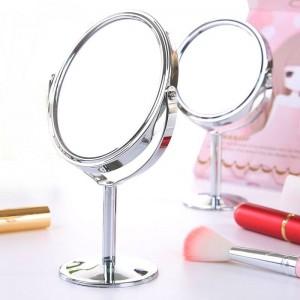 小さな化粧鏡デスクトップラウンドオーバルテーブルミラーシンプルな女性家庭用メタル回転両面化粧台ミラーmx 318094