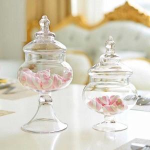小さな透明ガラスキャンディジャーリビングルーム装飾収納タンクウェディングショップのレイアウトガラス缶シュガーボウル