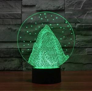 雪山形3dナイトライト、カラフルな3dアクリルled usbテーブルランプホリデーデコムードライト用子供のクリスマスプレゼント