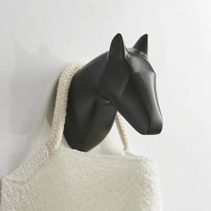 ソリッドホースアンテロープヘッドコートフック壁掛け式タオル掛け金/黒塗装衣類フック浴室ハードウェア
