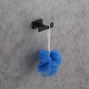 ステンレス鋼シングルローブフック壁掛けタオルフック黒塗装服フック浴室ハードウェア