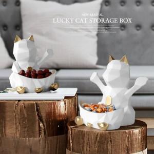 結婚式の装飾のための彫像Enの樹脂キャンディーナットの幾何学的な幸運な猫の置物装飾的な家の壁の装飾