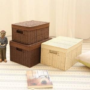 Surabilusわら織り収納小さな寝室デスクトップ収納ボックス仕上げボックス収納ボックス本箱カバー