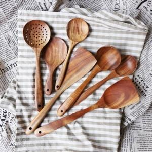 タイチーク天然木工品食器スプーンお玉ロングライススープスキマー調理スプーンスクープ手作りキッチンツールセット
