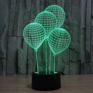 バルーン形状3dナイトライト付きタッチスイッチledアクリル7色自動変更3d錯覚ランプ用ホリデーデコテーブルランプ