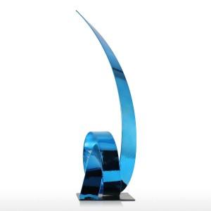ブルーライジングリボンメタル彫刻鉄現代彫刻抽象置物手工芸品彫像用装飾飾り