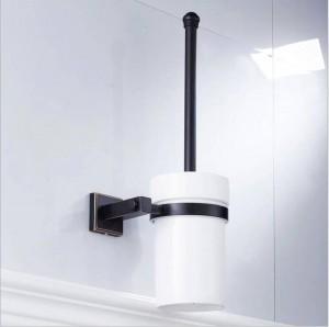 新しい銅材料黒青銅正方形バスルームハードウェアペンダントトイレブラシクリーントイレブラシセラミックカップ9036 K