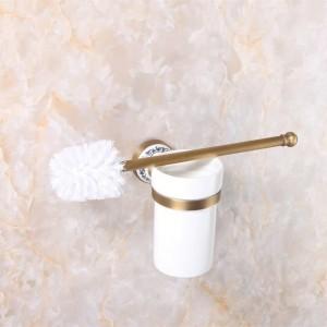トイレブラシホルダー高級アンティーク仕上げトイレブラシホルダー付きセラミックカップ家庭用品バスルーム装飾9068K