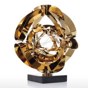 夢の花彫刻現代金属抽象置物ステンレス鋼クラフトギフト用オフィスホームデコレーションアクセサリー