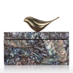 ジュエリーボックス付き銅鳥木製小物装飾リングネックレス収納ボックス誕生日プレゼント用女性ブラックベルベット