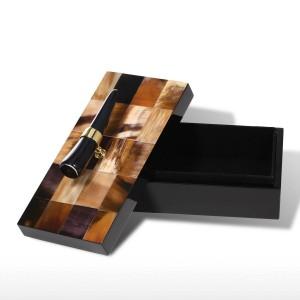 ホーンストライプ付きジュエリーボックス木製ジュエリーディスプレイリングネックレス収納ボックス誕生日プレゼント用女性ブラックベルベット