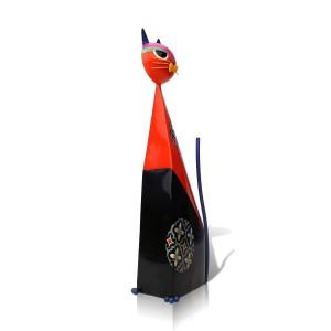 レッドフォーチュン猫型置物金属ミニチュア置物家具牧歌的なアートクラフトギフト家の装飾アクセサリー