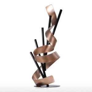 直線とリボンメタル現代抽象彫刻家の装飾新年の贈り物ホームアクセサリー置物
