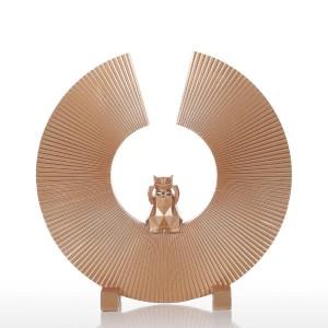 フォーチュンキャットレジン彫刻現代美術家の装飾像置物飾りホームオフィス用