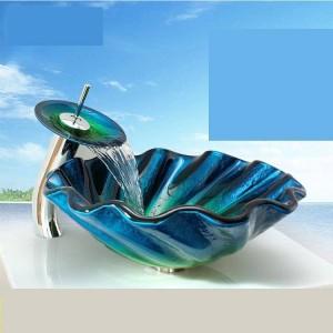 強化ガラス洗面台表彰台浴室異常アート洗面台盆地衛生陶器ガラスボウルシンクブルーバスルーム洗面台