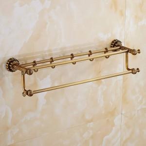 タオルバーモダンスタイル壁掛けダブルタオル真鍮棚収納ハンガーバスルームアクセサリータオル掛けフック付きFE-8602