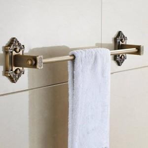 タオルバーシングルレールアンティークソリッドブラスウォールシェルフタオルラックハンガー風呂棚バスルームアクセサリータオルホルダーLAD-71224