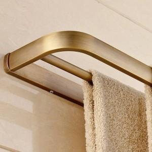 タオルバーソリッドブラスダブルレール60 cmタオルホルダー浴室用棚ウォールマウントバスルームアクセサリータオルハンガーF81348