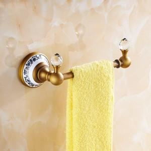 タオルバーソリッドブラスゴールデン仕上げシングルレールタオルホルダーハンガー浴室の棚壁に取り付けられた家の装飾タオルラック6318
