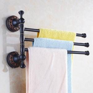 タオル掛け3レール回転35センチ黒真鍮タオルバーハンガータオル掛け壁掛けバスルームアクセサリータオル棚H91328R